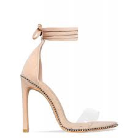 45c9402048d7 Skylar Nude Suede Studded Clear Lace Up Heels